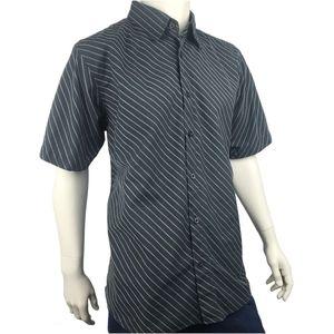 Brody Diagonal Stripe Casual Button Up Shirt Sz XL